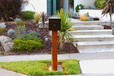 Mid Century Modern Mailbox Instructions   Etsy Brick Mailbox, Wooden Mailbox, Vintage Mailbox, Farmhouse Mailboxes, Concrete Pad, Wood Post, Wood Slats, Woodworking Furniture, Midcentury Modern
