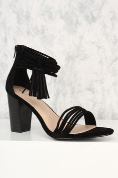 721aa15f0ef6 Black Strappy Fringe Tassel Accent Open Toe Chunky Heels Faux Suede  AD
