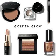 Gold Ambition Top: Golden Light Bronzing Powder / Brown Metal Metallic Long-Wear Cream Shadow / 24 Karat Long-Wear Cream Shadow Stick Bottom: Beige Gold Shimmer Lip Color /Bronze Shimmer Brick / Scotch Shimmer Nail Polish
