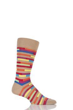 Mens 1 Pair Richard James Jacala Broken Striped Cotton Lisle Socks £16.99