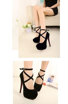 New Fashion Women Pumps Platform Strappy Buckle Stiletto High Heels Party Shoes