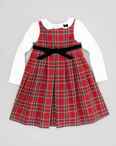 Florence Eiseman Tartan Plaid Bow Dress & Bow-Detail Long-Sleeve Shirt - Neiman Marcus