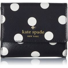 kate spade new york Cedar Street Dot Tavy Wallet ($88) ❤ liked on Polyvore featuring bags, wallets, polka dot wallet, dot bag, kate spade, kate spade wallet and spot bags