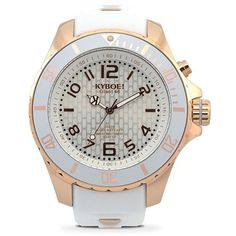 KYBOE! Power Rose Goldtone Stainless Steel & White Silicone Strap... (€255) ❤ liked on Polyvore featuring jewelry, watches, fine jewelry - fine watches c, white, white watches, polish jewelry, stainless steel watches, unisex watches and white jewelry