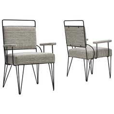 For Sale on 1stDibs - This imposing pair of Brazilian armchairs in iron and fabric is a visually stunning representation of Brazilian Modern design. The well thought out minimalism Wooden Armchair, Mid Century Armchair, Mid-century Modern, Modern Design, Modern Materials, Mid Century Design, Modern Chairs, Side Chairs, Cool Furniture
