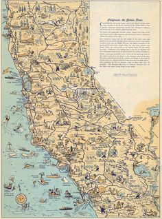 Whimsical old map depicts California at a time when 'Hollywood was a state of mind' - Curbed LAclockmenumore-arrow : The cartoon map was recently unearthed Yosemite California, California Map, Vintage Maps, Vintage Wall Art, Vintage Signs, Singapore Map, Thailand Tourism, Pictorial Maps, Area Map