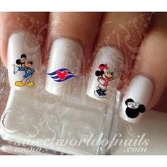 Disney Cruise Nail Art Mickey Minnie Mouse Nail Water Decals Wraps #nailart