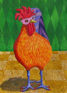 Chicken Print featuring the painting Mardi Gras Chicken by Catherine G McElroy