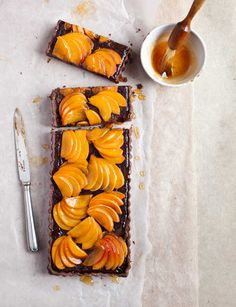 Apricot and bitter chocolate tart. Easy entertaining dessert recipe.
