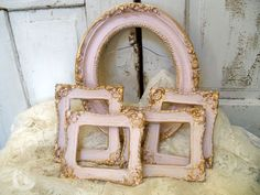 Vintage pink frame grouping shabby chic French provincial five piece set Anita Spero., via Etsy.