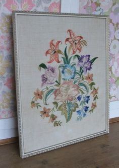 Pretty framed Floral Embroidery