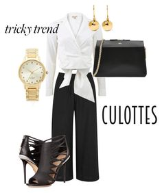 """""""Culottes #9"""" by russetandolive ❤ liked on Polyvore featuring Eileen Fisher, Michael Kors, L.A.M.B., A.P.C., Kate Spade, Ippolita, TrickyTrend and culottes"""