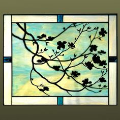 """Stained Glass with Metal Overlay """"Dogwoods""""  Anne Ryan Miller Glass Studio"""