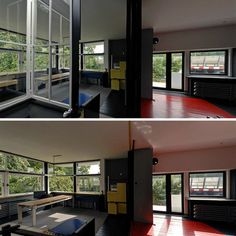 From the Rietveld-Schroeder house in the Netherlands, built 1924 - with reconfigurable floorplan, moveable walls!