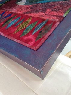Linda Kemshall: Multitasking with a vengeance : how to glue a small art quilt to the canavas. Quilting Tutorials, Quilting Projects, Quilting Ideas, Art Tutorials, Map Quilt, Quilt Art, Quilt Display, Quilting Frames, Creative Textiles