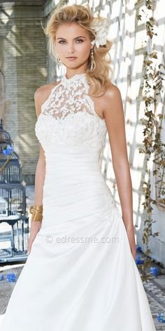 Beaded Lace Halter Wedding Dresses by Camille La Vie-image