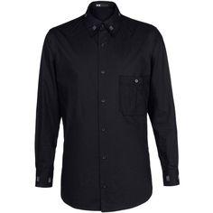 Y-3 Bar Tack Shirt (370,485 KRW) ❤ liked on Polyvore featuring men's fashion, men's clothing, men's shirts, men, shirts, black, mens french cuff shirts, mens button shirts, mens french cuff dress shirts and mens print shirts