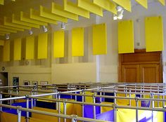 PVC Baffles are an economical solution to lower ambient sound levels & to reduce reverberation times in large interior spaces such as restaurants, health clubs, gymnasium, factories & service bays. Due to their light weight, the baffles are easily suspended from existing open truss or from installed ceiling anchors. The baffles are designed to hang vertically down from their anchor points to allow the free passage of air & integrate readily between lighting fixtures, fire sprinklers & HVAC…