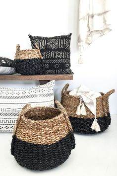 $159.00 We love these baskets, with their lovely pear shape and black dipped bottoms they are perfect for storage and the cutest pot plant holders ever! They come in a set of 3 different sizes so style them in a cluster or spread them out around your home.