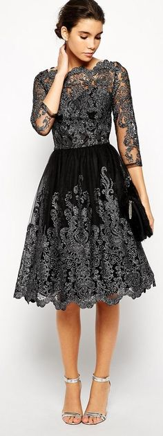 I love the lace detail on this dress, it's so elegant! #timetoparty
