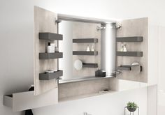 Geberit Acanto Two Door Mirror Cabinet with Lighting is part of cabinet Doors Mirror - 3 widths available all with top mounted LED lighting Ocean Bathroom, Bathroom Inspo, Bathroom Inspiration, Mirror Cabinet With Light, Medicine Cabinet Mirror, Cabinet Door Handles, Cabinet Doors, Unique Furniture, Home Furniture