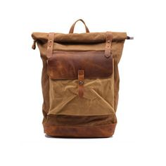 Leather Backpack / Waxed Canvas Backpack / Waxed Canvas Rucksack / Laptop Backpack / Vintage Backpack / Men Backpack / Women Backpack(S35)