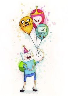 Adventure Time Birthday Art Finn holding Balloons by OlechkaDesign, $12.00