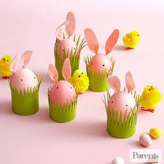 Last year, I crafted some eco-friendly Easter crafts for Parents magazine.   They're easy to make and utilize items that you probably have in your   recycle bin! These little felt-eared egg bunnies are sitting in grass cuffs   made from toilet paper and paper towel tubes. You can find the instructio