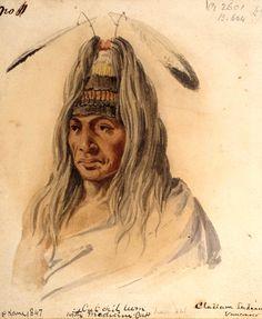 Culchillum, figlio di  Sawsea, Cowichan. L'elaborato copricapo cerimoniale era formato, secondo l'artista, da capelli ricavati dagli scalpi di nemici uccisi. Acquarello originale.