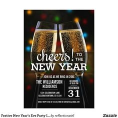 Festive New Year's Eve Party Invitation Toasting the new year with these pretty champagne glasses & sparkling Christmas lights in the background. Personalize the card with your own celebration details.