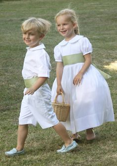 white and green flower girl dress and page boy outfit by Little Eglantine