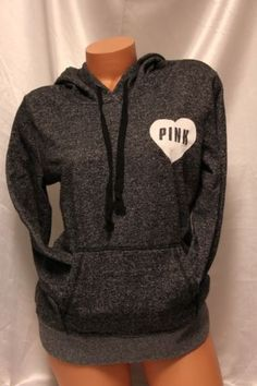 Victoria's Secret PINK Comfy Black Speckled Pullover Hoodie