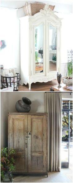 Armarios antiguos restaurados. Visto en www.ecodecomobiliario.com