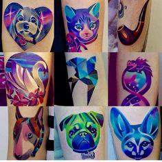 Sasha unisex geometric colorful animal tattoos