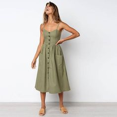 2018 Summer Linen Beach Striped Dress Button Casual Pockets Dress Camisole A Line Long Polka Dot Dress Boho Sundress Vestidos