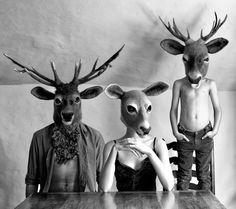 Hand made to order: Hand felted 'Doe' headdress par gladyspaulus Creepy Masks, Young Buck, Felt Mask, Folk Clothing, Family Album, Fursuit, Felt Animals, Prehistoric, Spirit Animal