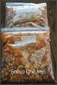 Salsa Chicken  6-8 chicken breasts  2   15 oz. cans of black beans  1 family size frozenbag of corn  2 cans of dicedtomatoes and green chilies  1 jar of salsa  1 packet of tacoseasoning  2 cups of cheddarcheese