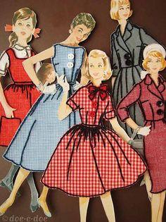 mixed media--stitching around dresses