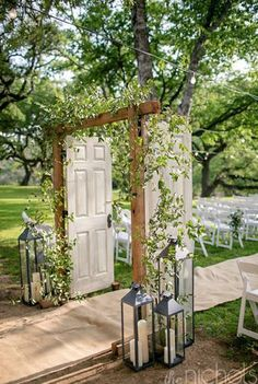 A Southwestern Wedding at Sisterdale Dancehall & Opera House in Boerne, Texas Unique Ceremony Aisle Decor With Open Doors, Lanterns and Greenery Wedding Aisles, Diy Wedding, Dream Wedding, Wedding Ideas, Trendy Wedding, Wedding Reception, Reception Entrance, Wedding Planning, Wedding Table