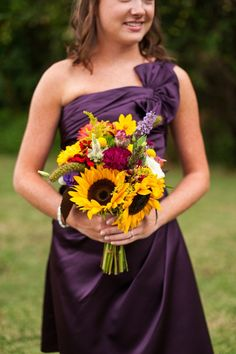purple bridesmaid dress + wildflower/sunflower bouquet | Purple and Yellow Fall Wedding - A.J. Dunlap Photography | Heart Love Weddings