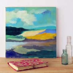 wanderlust painting, original art, abstract landscape, cloud painting, boho art, one of a kind  art, gift for her, horizon painting, modern