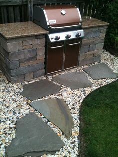 custom built grill with beautiful countertops