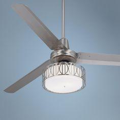 """60"""" Casa Vieja Turbina™ Art Deco Brushed Steel Ceiling Fan"""