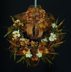 Traditional Fall Wreath made with Poly Sinamay Deco Mesh