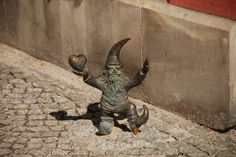 Dwarf statues are scattered about in Wroclaw, Poland