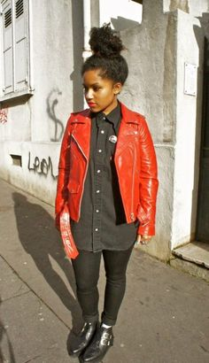 Red biker jacket...YES, please