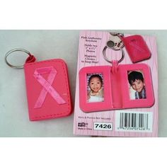 Breast Cancer Awareness pink leatherette photo holder and key ring