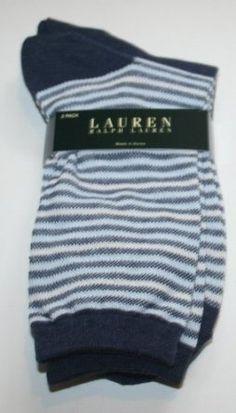 Polo Ralph Lauren Women's Crew Socks - 2 Pair - Size: 9-11 - Denim/Stripe Ralph Lauren. $22.95