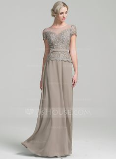 A-Line/Princess Scoop Neck Floor-Length Zipper Up Sleeves Short Sleeves No Other Colors General Plus Chiffon Mother of the Bride Dress Plus Size Gowns, Evening Dresses Plus Size, Chiffon Evening Dresses, Formal Evening Dresses, Mob Dresses, Special Dresses, Special Occasion Dresses, Mother Of The Bride Dresses Long, Mothers Dresses