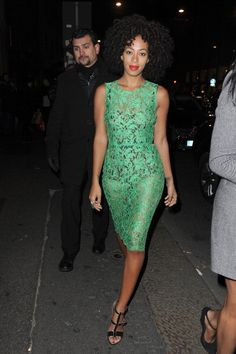 Solange Knowles pops in mint green lace by Dolce & Gabbana.